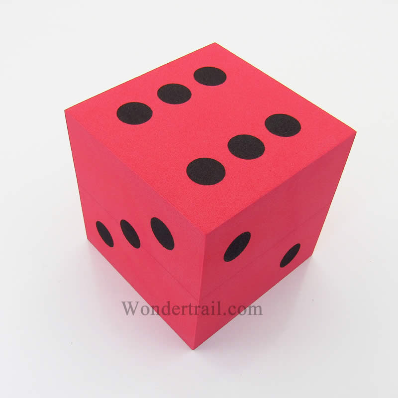 Red Opaque Foam Die with Black Dots D6 100mm (4in) Pack of 1 Die Koplow Games