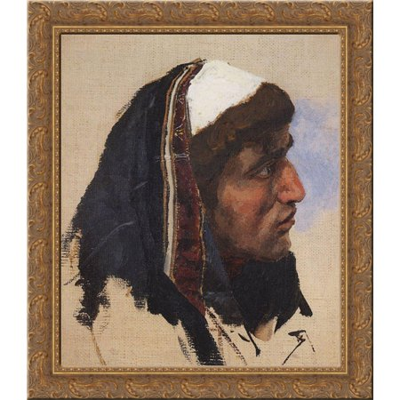 The head of a young man in a blue veil 20x20 Gold Ornate Wood Framed Canvas Art by Polenov, (Delia Derbyshire Blue Veils And Golden Sands)
