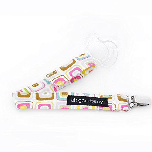Ah Goo Baby Pacifier Clip, Easy & Quick Velcro Attachment, Gumdrop Pattern