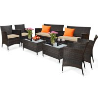 Deals on Gymax 8-Piece Patio Rattan Outdoor Furniture Set w/ Cushioned