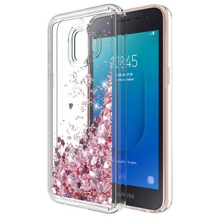 Samsung Galaxy J2 Core Case, Samsung Galaxy J2 Pure / J2 Dash Case, Kaesar Quicksand Flowing Liquid Floating Ultra Thin Shock Absorption Clear TPU Case for SM-J260 (Samsung Pink Faceplates)