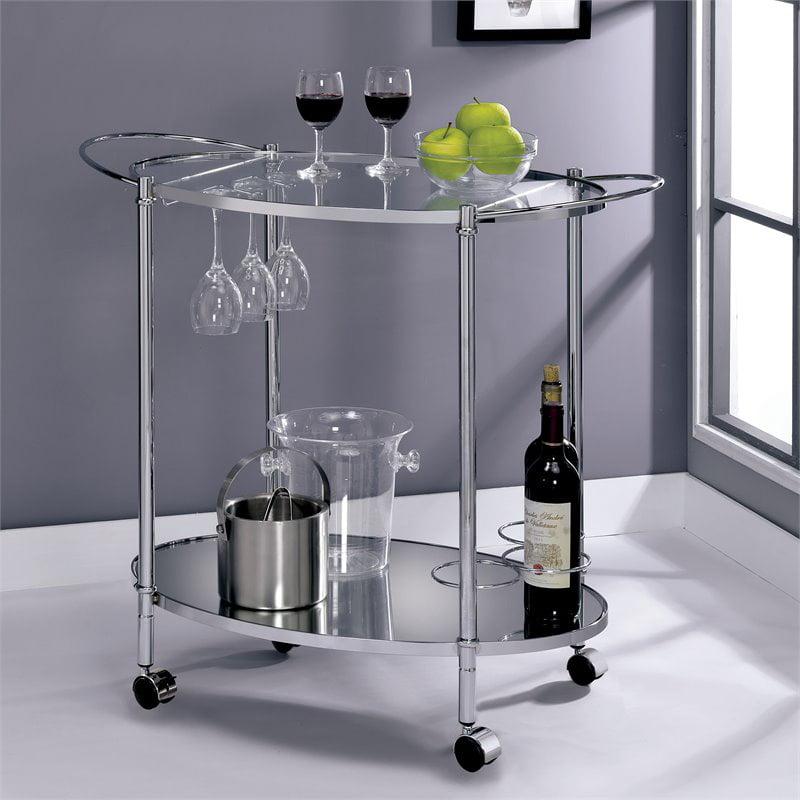 Furniture of America Impresa Contemporary Serving Cart in Chrome