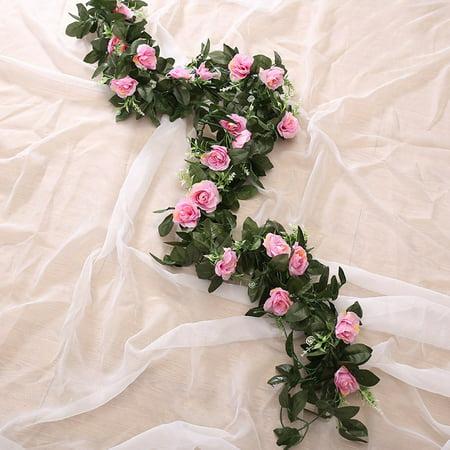 KABOER Artificial Flower Silk Rose Leaf Garland Vine Ivy Wedding Landscaping Decor
