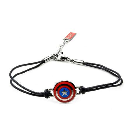 Native American Stainless Steel Bracelet (Marvel Captain America Stainless Steel Logo in Black Leather Cord Bracelet)