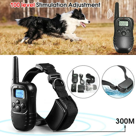 300M Remote-controlled Rechargeable Waterproof 100LV Level Shock Vibra Pet Dog Training Collar Adjustable Size with LCD