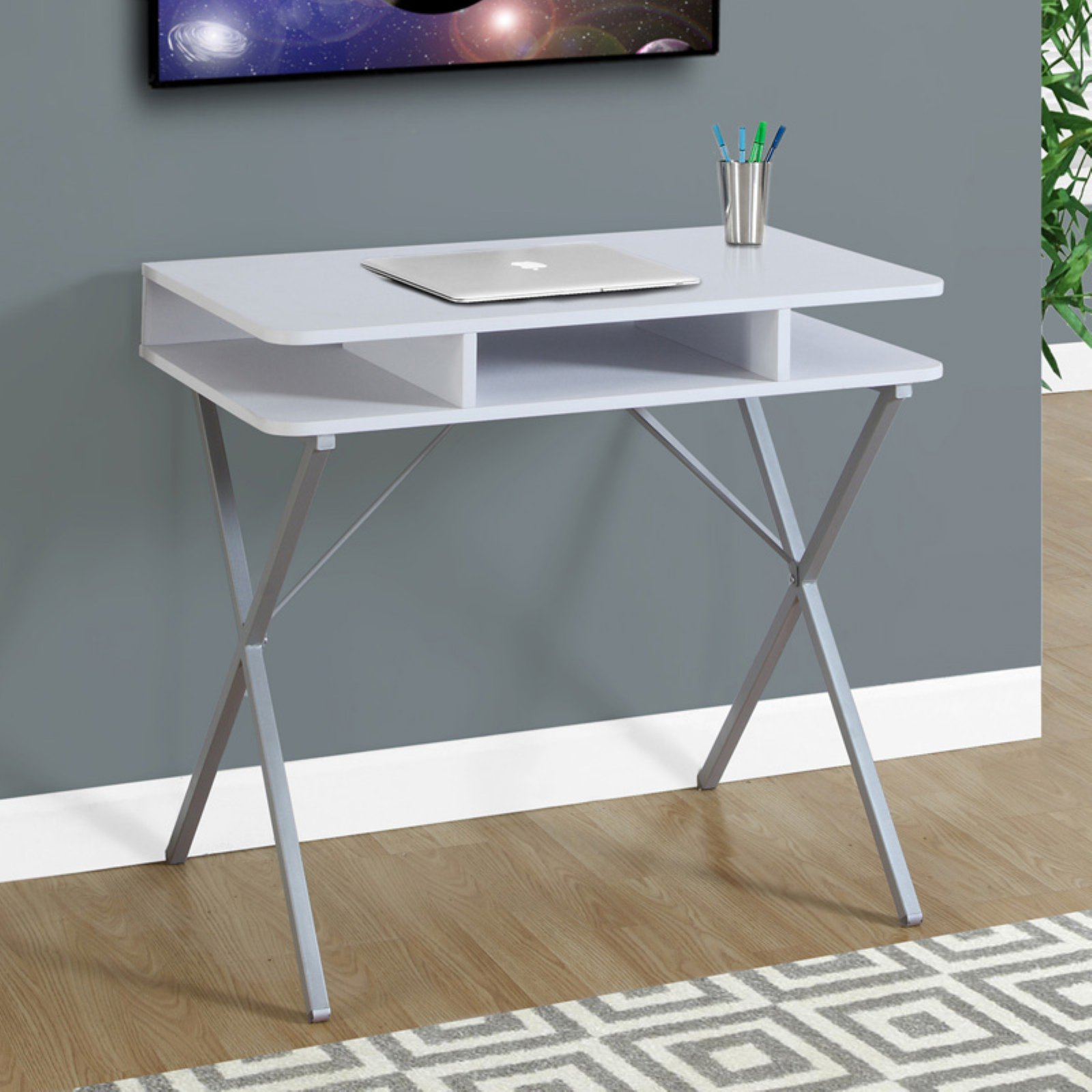 "Monarch Computer Desk 31""L / White Top / Silver Metal"