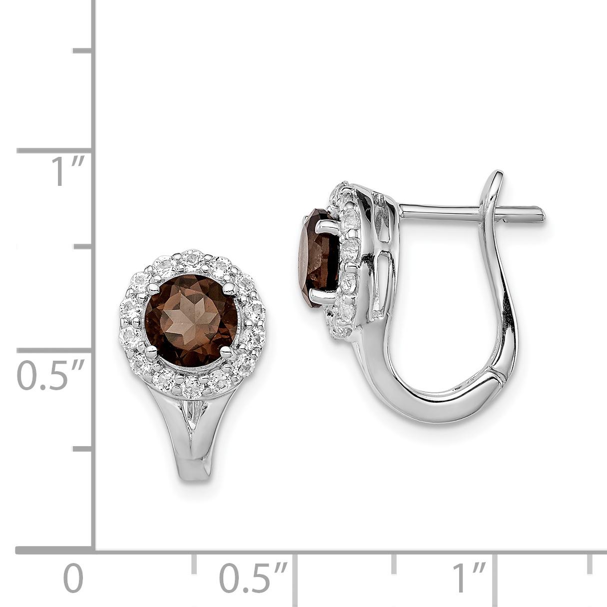 925 Sterling Silver White Topaz Smoky Quartz Hinged Hoop Earrings Ear Hoops Set Drop Dangle Fine Jewelry Gifts For Women For Her - image 1 de 2
