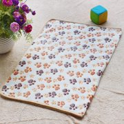Lovely Paw Print Pet Dog Cat Soft Warm Bed Doggy Sleep Blanket Mat (White 104*76cm)