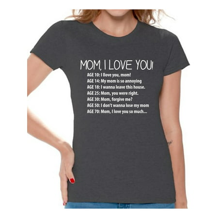 Awkward Styles Women's Mom I Love You Cute Graphic T-shirt Tops Mother's Day (Grey 59 Clothing)