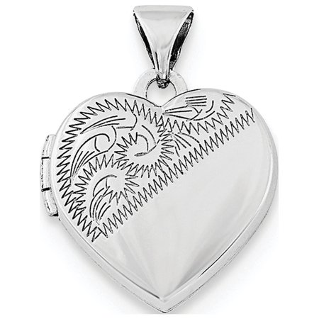 925 Sterling Silver Rhodium-plated 15mm Heart Locket - image 3 of 3