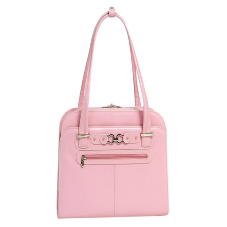 Lined Top Zip Briefcase (McKlein OAK GROVE, Fly-Through Checkpoint-Friendly Ladies' Laptop Briefcase, Top Grain Cowhide Leather, Pink (96639) )