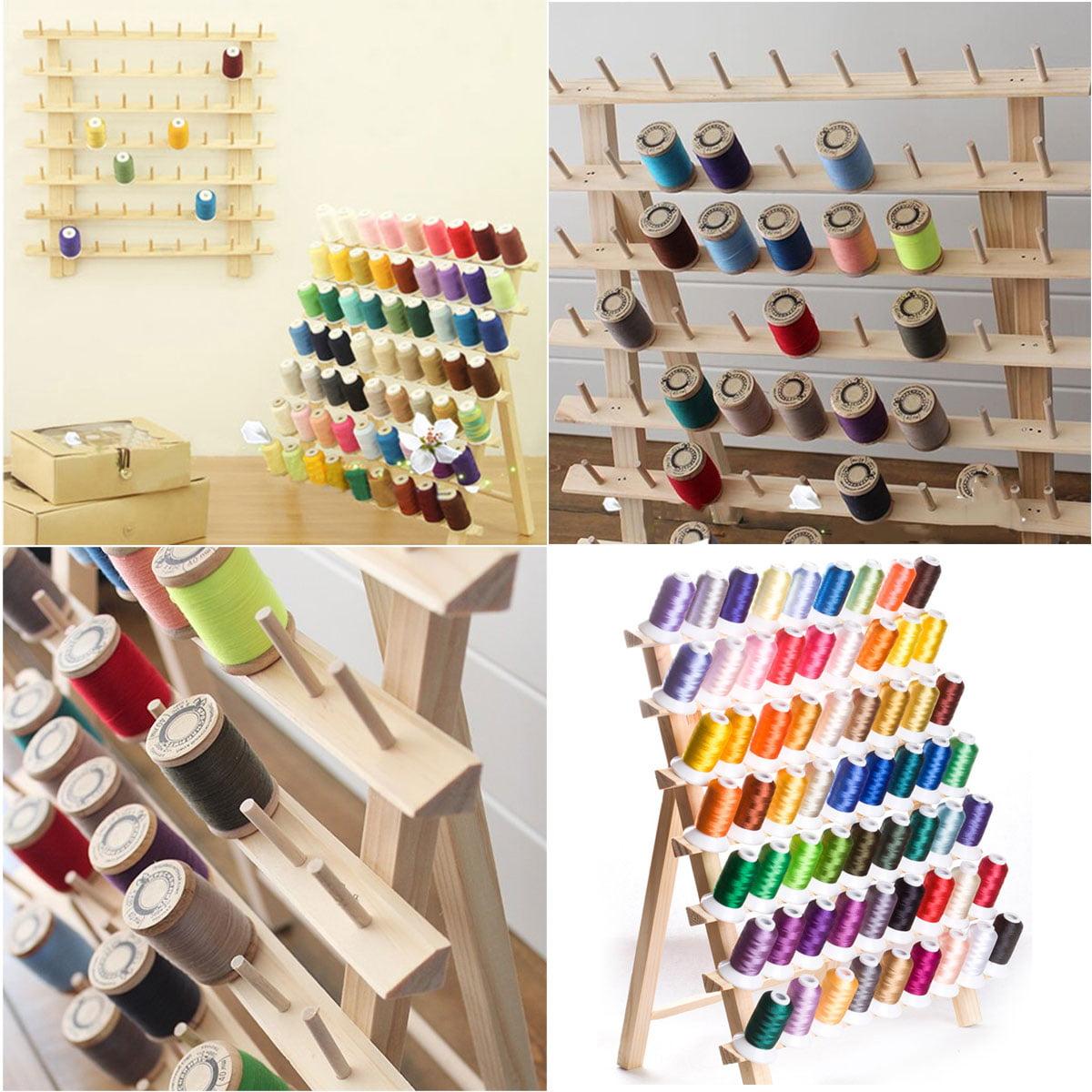 Wooden Sewing Thread-Rack-Sewing-Storage Organizer Embroidery Thread Holder Thread Spool Rack 120 Spool