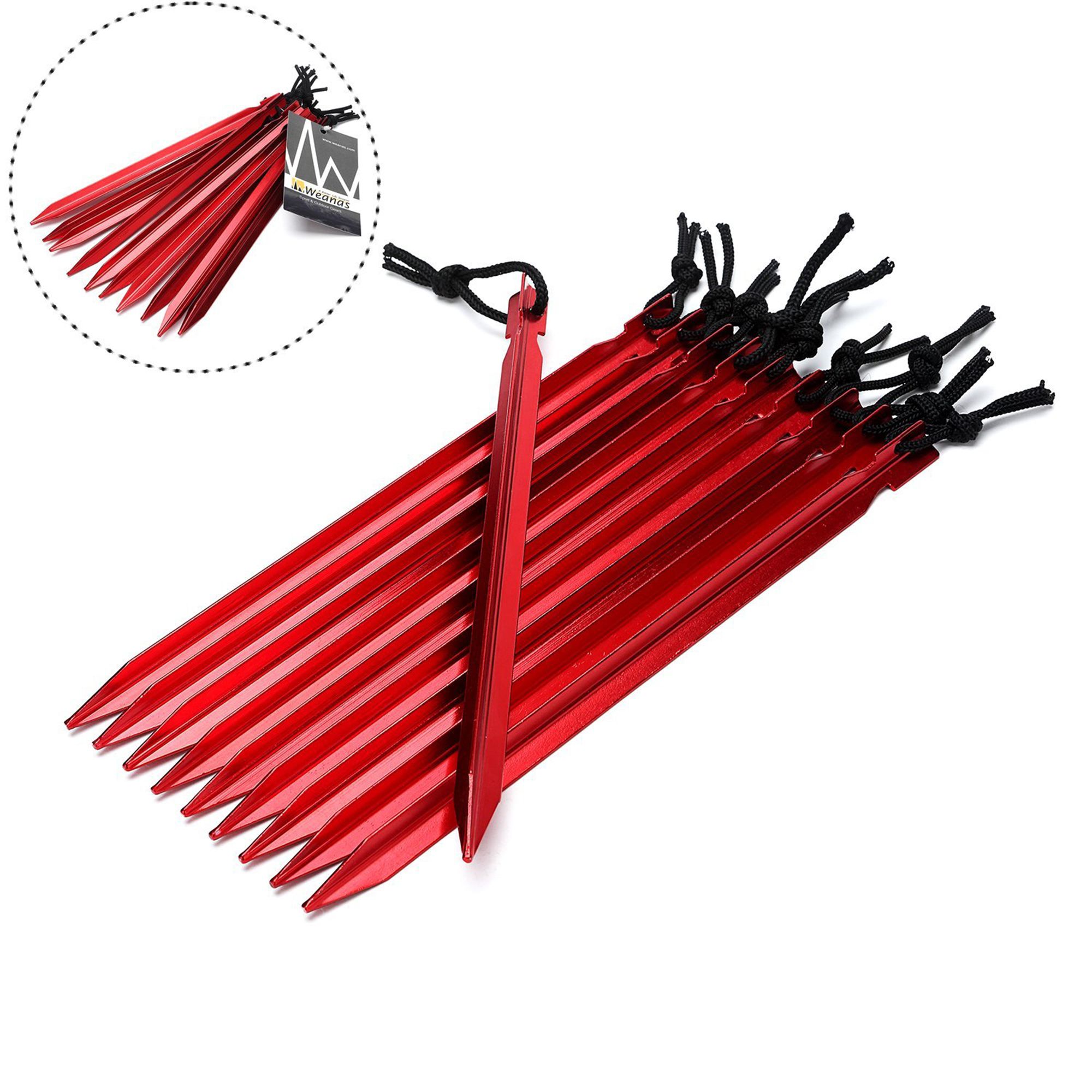 WEANAS 10 Pack Burly Aluminum Alloy Tent Stakes Tent pegs Lightweight Aluminum Pegs Footprint  sc 1 st  Walmart.com & Metal Tent Stakes