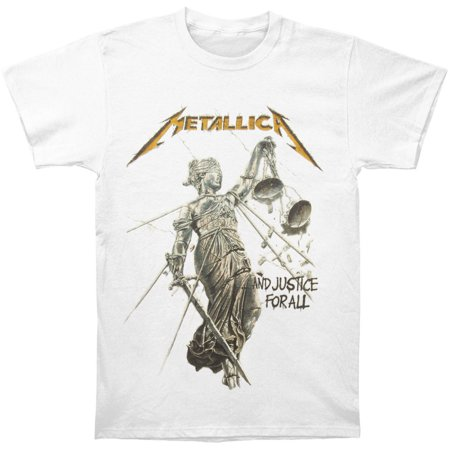 Metallica Men's And Justice For All Album Cover T-Shirt White Album White T-shirt