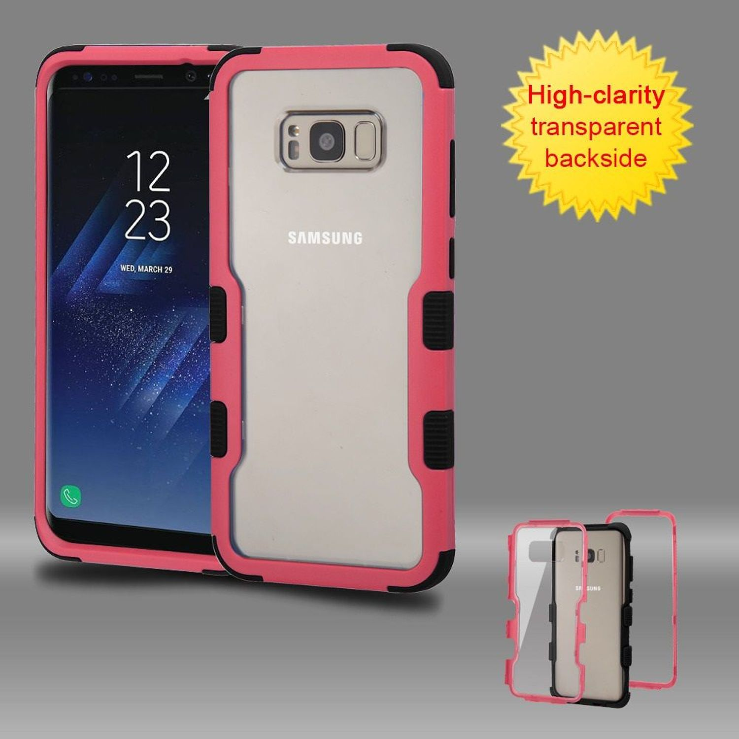 Samsung Galaxy S8 Plus Case, Samsung Galaxy S8+ Case, by Insten Tuff Dual Layer [Shock Absorbing] Hybrid Hard Plastic/Soft TPU Rubber Clear Case Phone Cover For Samsung Galaxy S8 Plus S8+, Pink/Black