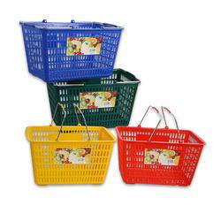 4 Pk of Hand Carry Plastic Retail Grocery Store Shopping Cart Baskets Stackable