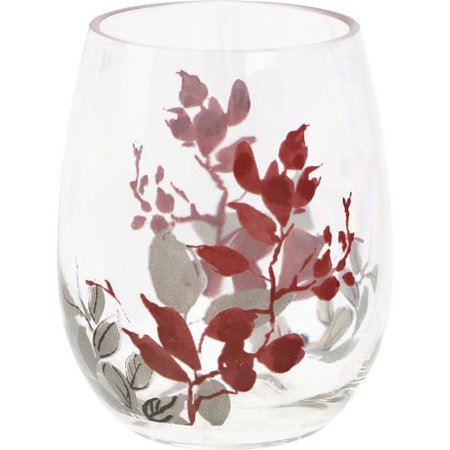 corelle kyoto leaves 4-pc. acrylic stemless wine glass (Leaf Wing)