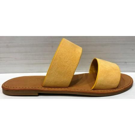 fef2dbb544a8 Sunny Feet - Coastline-76S Women Open Toe Slip On Double Band Flip Flops  Slide Flat Sandal Mustard - Walmart.com