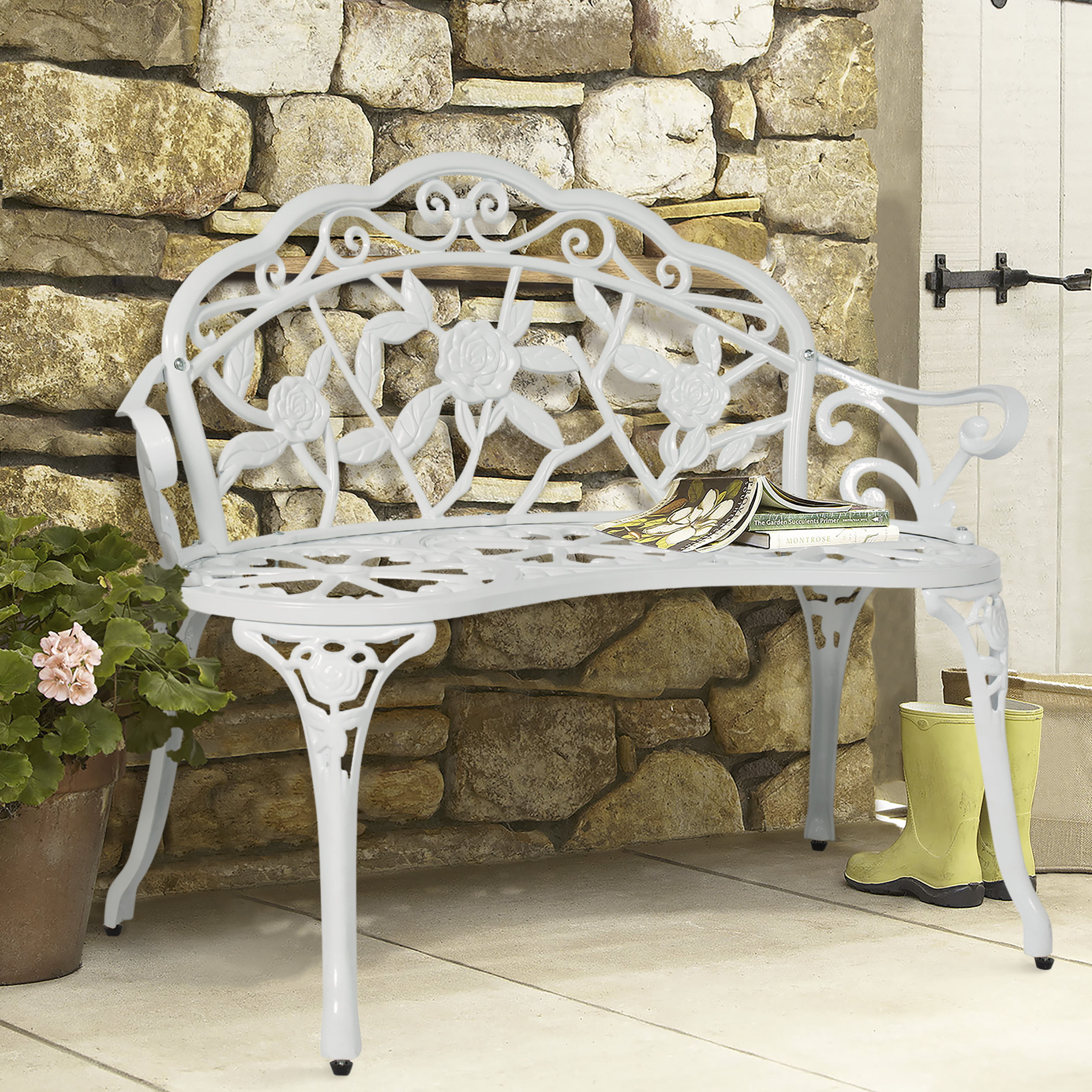 Best Choice Products Floral Rose Accented Metal Garden Patio Bench w  Antique Finish White by