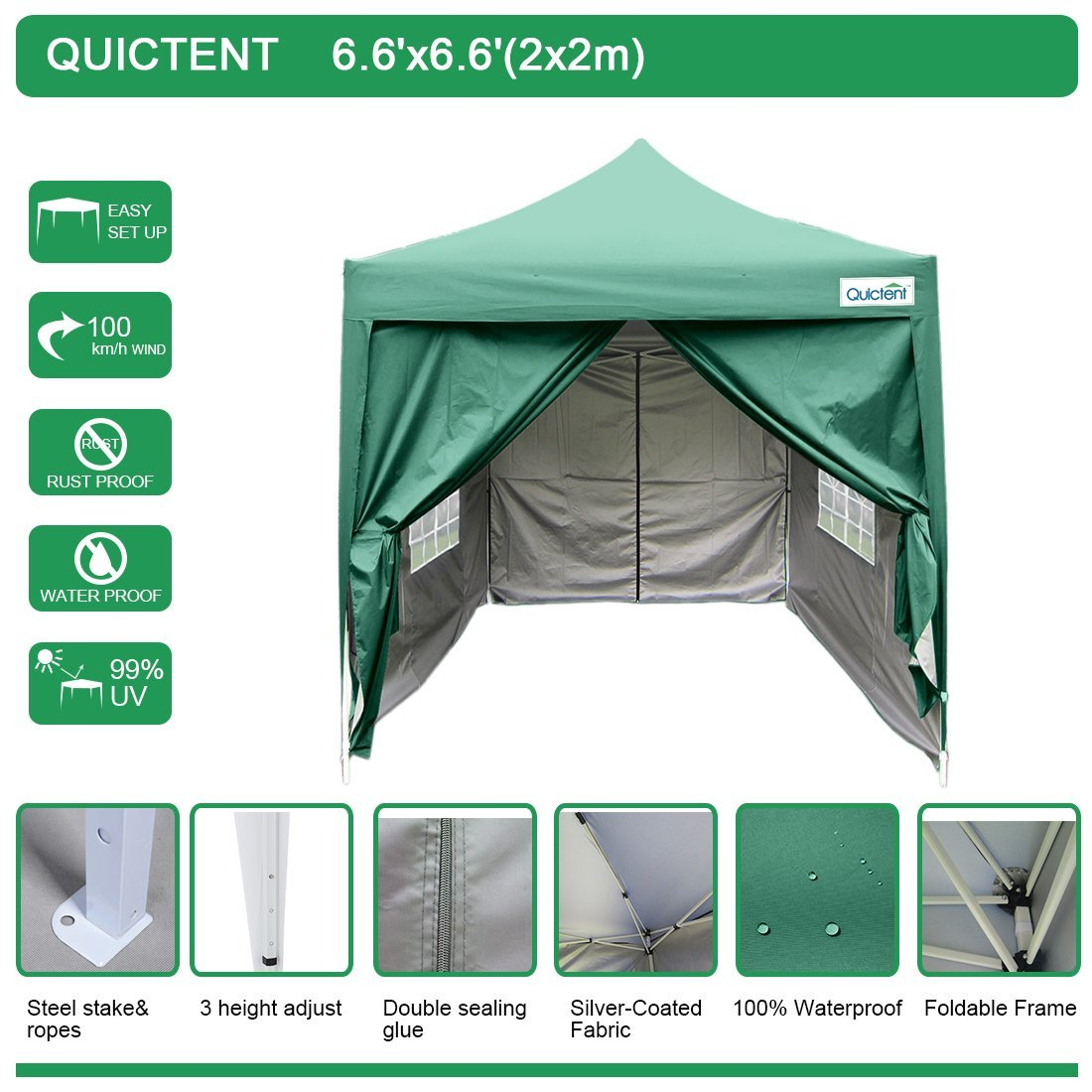 Quictent Silvox 6.6' x 6.6' EZ Pop Up Canopy Portable Waterproof Gazebo Pyramid Roof Beige