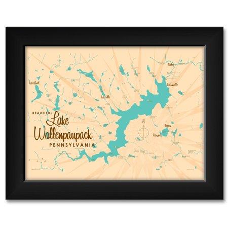 Lake Wallenpaupack Pennsylvania Map Framed Art Print by Lakebound . Print Size: 9