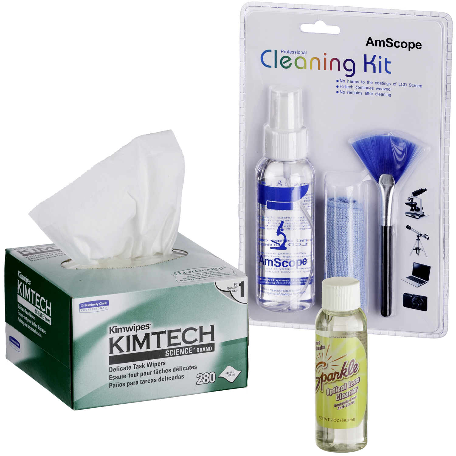 AmScope Microscope and Camera Cleaning Kit  for Lenses, Body and TV or Computer Screens