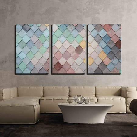 wall26 - 3 Piece Canvas Wall Art - Colorful Mosaic Tile - Modern Home Decor Stretched and Framed Ready to Hang - 24