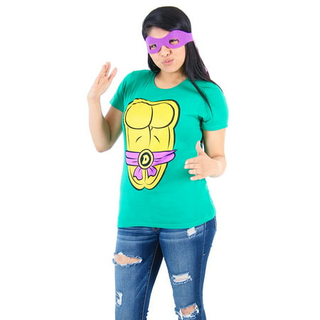 TMNT Teenage Mutant Ninja Turtles Costume Green Juniors T-shirt (Ninja Turtle Costume Shirt)
