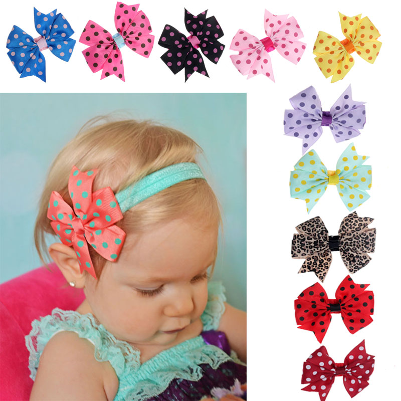 Outtop 10PC Babys Headband Hairband Elastic Wave Point Bowknot Photography