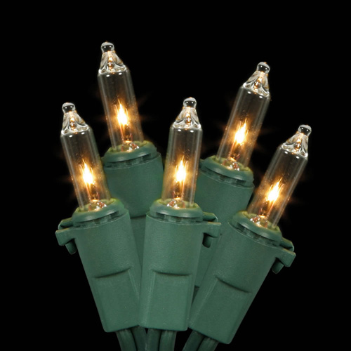 "Set of 10 Clear Mini Christmas Lights 3.5"" Bulb Spacing 22 AWG - Green Wire"