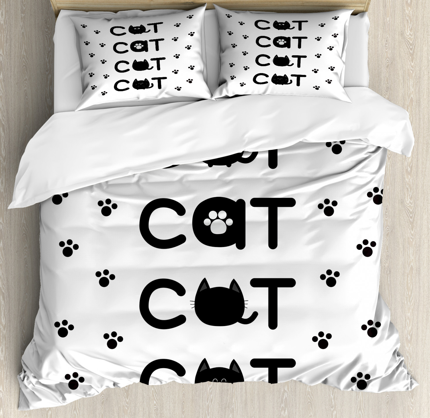 Kitty Duvet Cover Set Cat Text Out Of Round Shaped Cute Cats With Little Paw Prints In Black And White Decorative Bedding Set With Pillow Shams Black White By Ambesonne Walmart Com