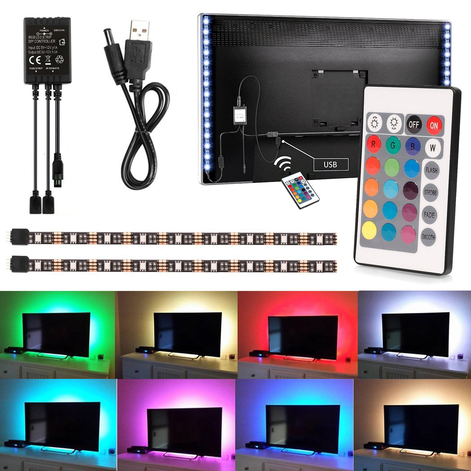 EEEKit 2PCS 50cm USB LED TV Light Strip 5V RGB LED Mood Background Lighting + IR Remote for Smart TV HDTV PC