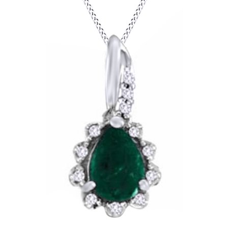 Pear Simulated Green Emerald CZ & Natural Diamond Pendant Necklace in 14K Solid Gold