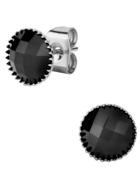 Stainless Steel Large Round Cut Black Simulated Onyx Gem Stone Stud Earrings for Men