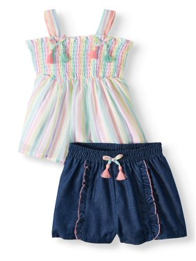 e9a222250 Product Image Forever Me Smocked Tank Top & Ruffle Shorts, 2pc Outfit Set  (Toddler Girls)