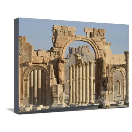 Qala'At Ibn Maan Castle Seen Through Monumental Arch, Archaelogical Ruins, Palmyra, Syria Stretched Canvas Print Wall Art By Christian