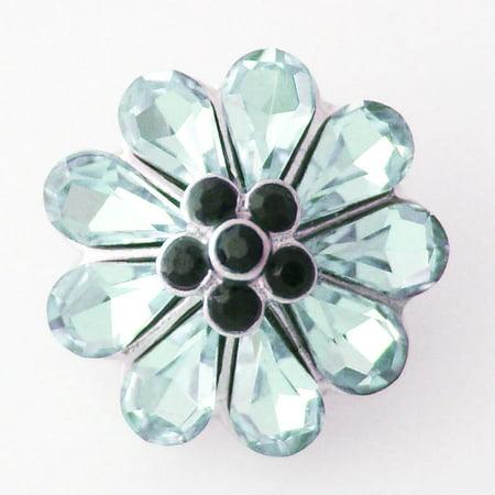 1 PC 18MM Aqua Blue Flower Rhinestone Silver Candy Snap Charm kb8139 - Aqua Candy