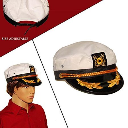 Yacht Sail Hat | Adjustable Captain White Kids and Adult Yacht Hat | Costume Accessory | Pretend Play Headwear](Captians Hat)