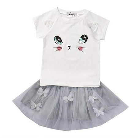 Baby Girls Infant 3D Ears Cat Face Short Sleeve T-Shirt Grey Tutu Skirt Summer Set