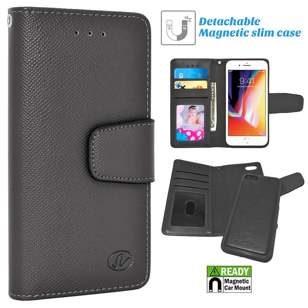 Apple IPhone 8; 7 Folio Leather Removable Magnetic Wallet Case Cover Black
