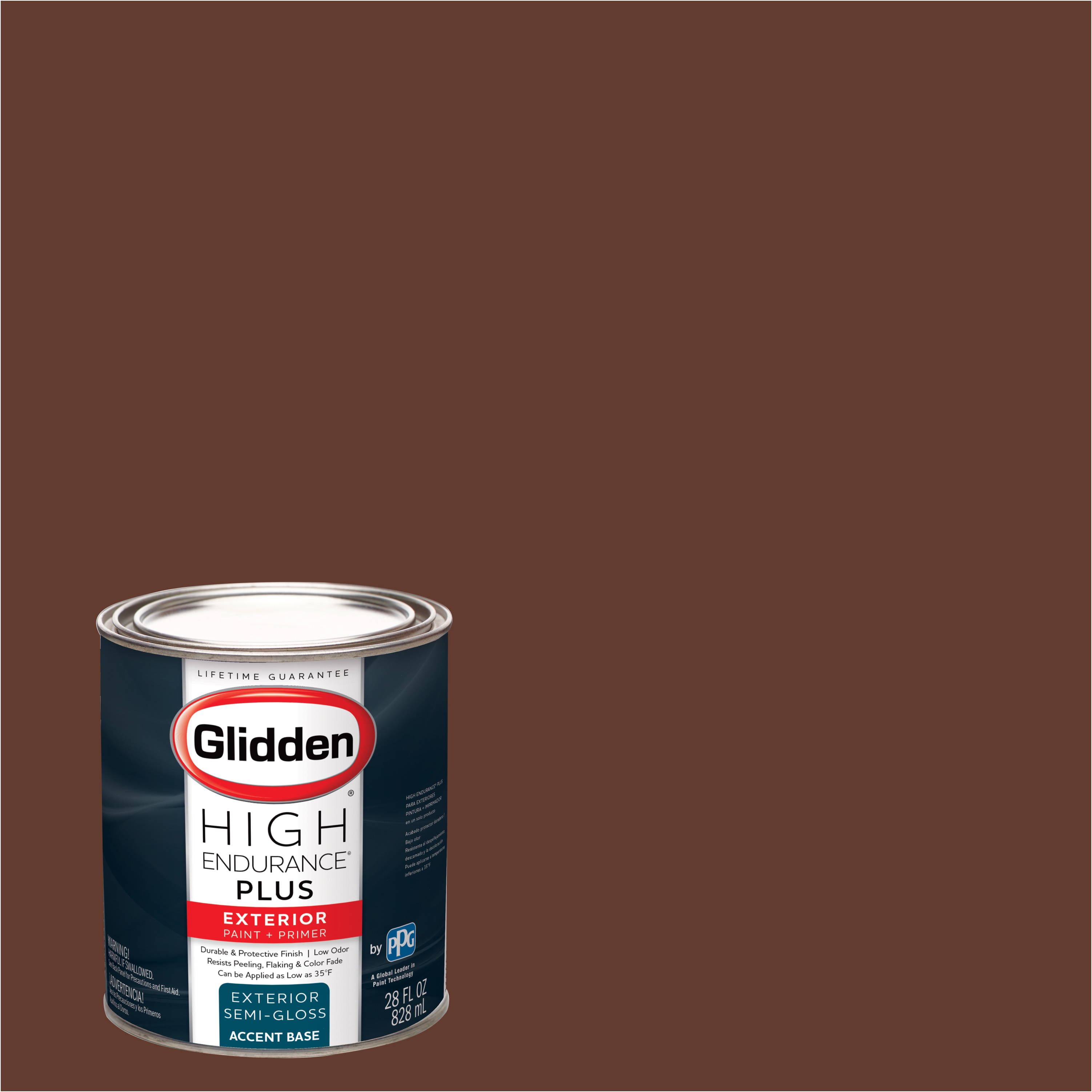 Glidden High Endurance Plus Exterior Paint and Primer, Old Redwood, #30YR 08/236