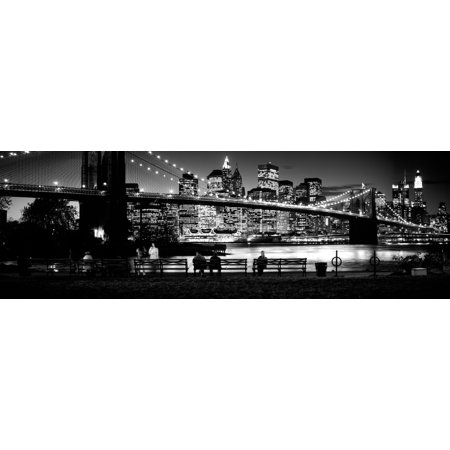 Suspension bridge lit up at dusk Brooklyn Bridge East River Manhattan New York City New York State USA Canvas Art - Panoramic Images (6 x 18) (River Bridge)