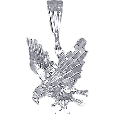 Sterling Silver Eagle Charm Pendant Necklace with Diamond Cut Finish and 24 Inch Figaro