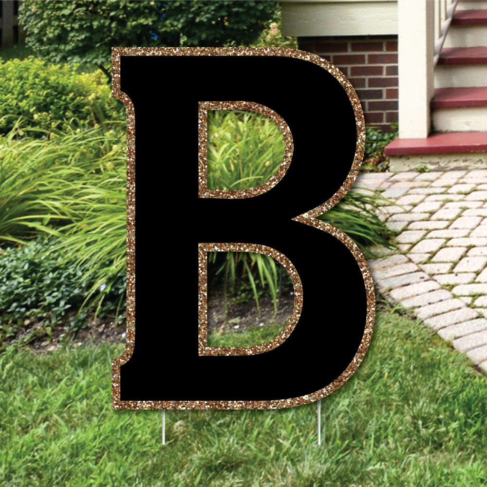 "Yard Letter B - Black and Gold - 15.5"" Letter Outdoor Lawn Party Decoration - Letter B"