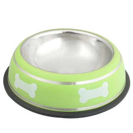 Unique Bargains Stainless Steel Bone Print Nonslip Base Cat Pet Dog Water Food Bowl Green