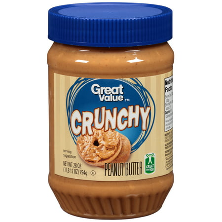 Crunchy Valencia Peanut Butter ((2 Pack) Great Value Crunchy Peanut Butter, 28 ounces)