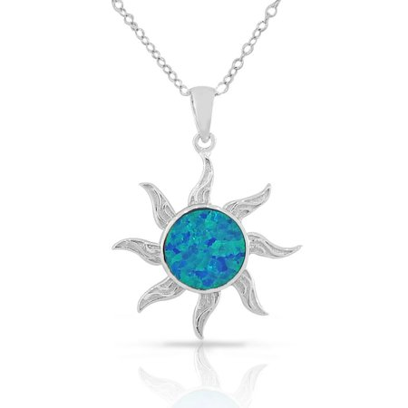 925 Sterling Silver Womens Blue Turquoise-Tone Sun Simulated Opal Pendant