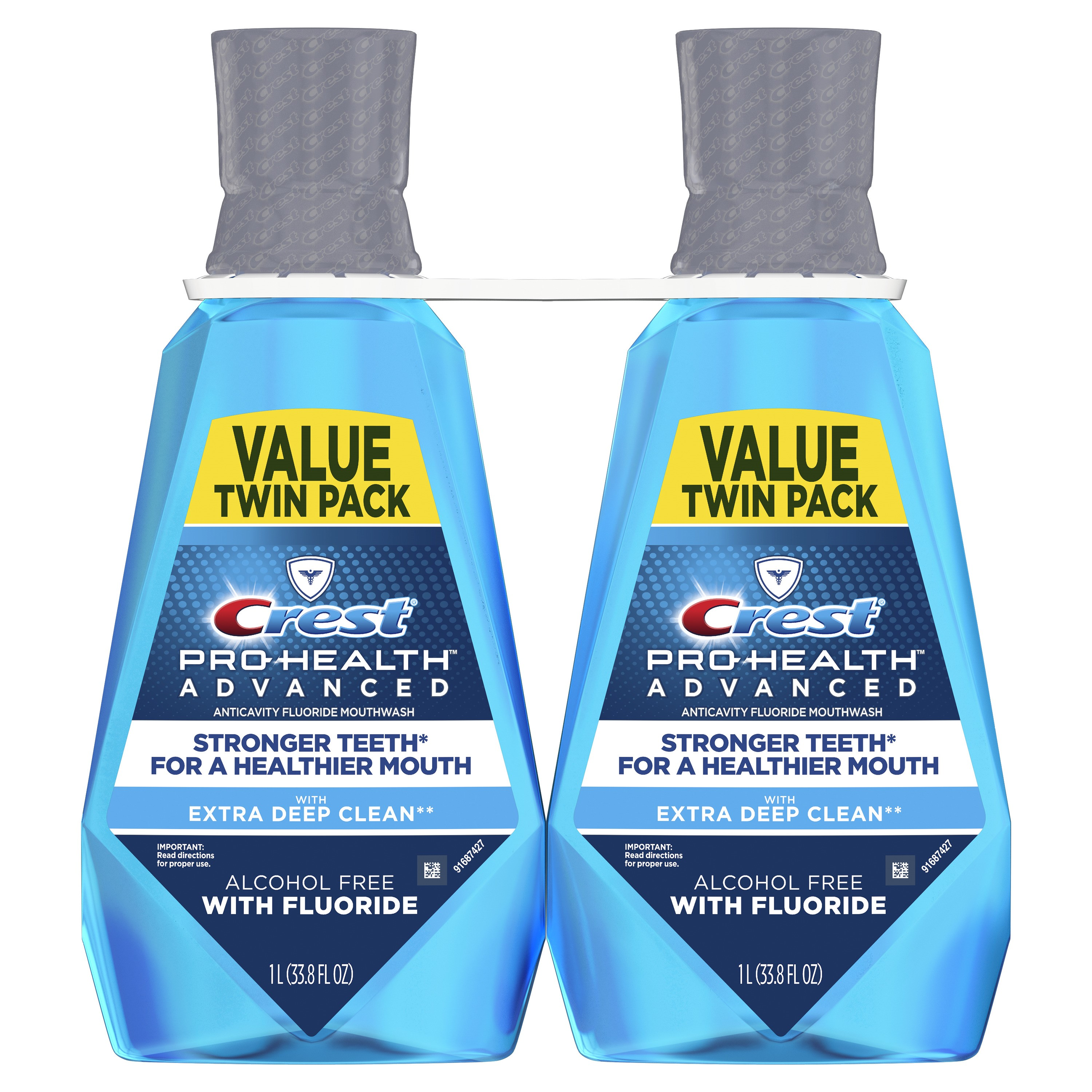 Crest Pro-Health Advanced, Extra Deep Clean Mouthwash, Fresh Mint, 1 L, Pack of 2