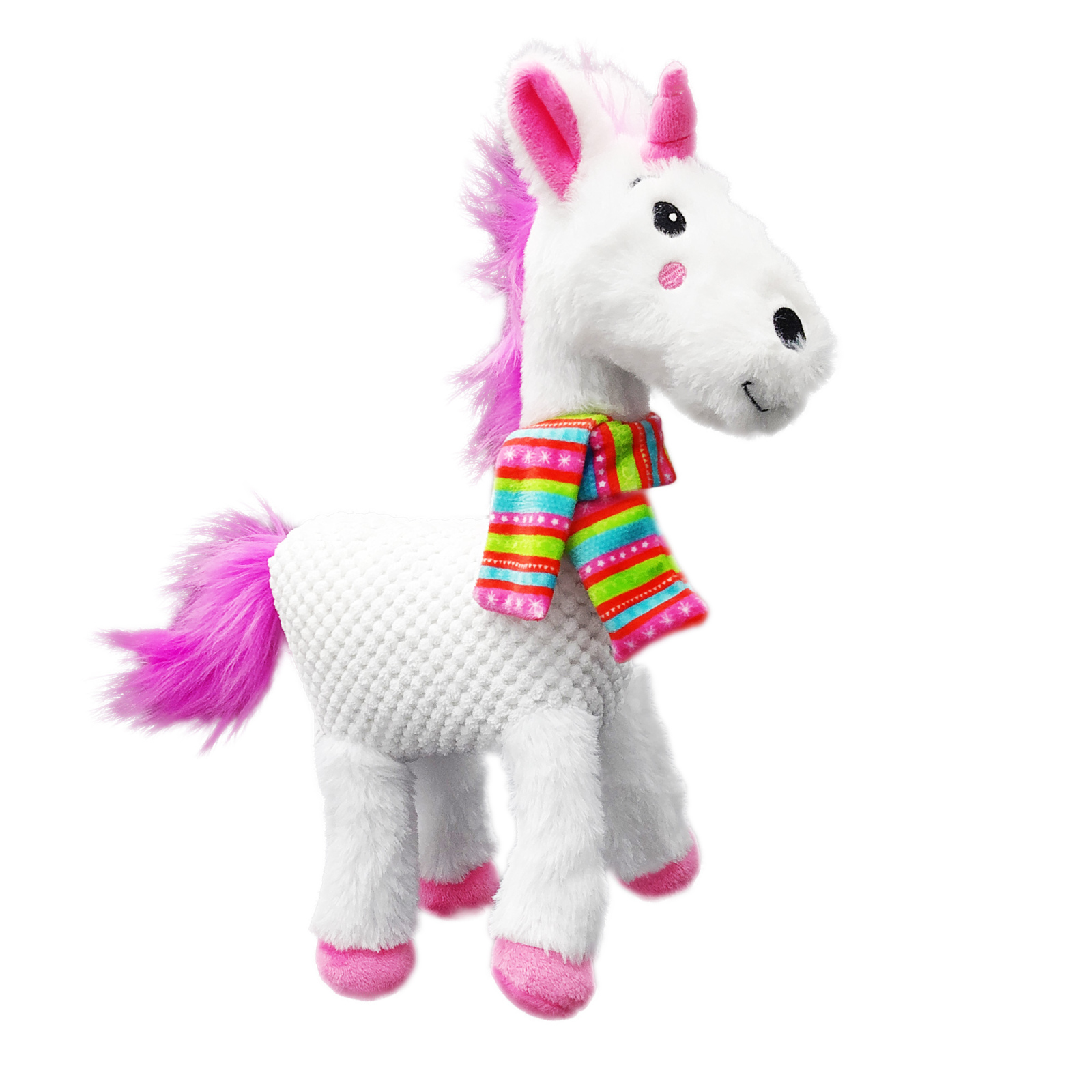 """Holiday Time Unicorn Stuffed Dog Toy with Squeaker, 12"""""""