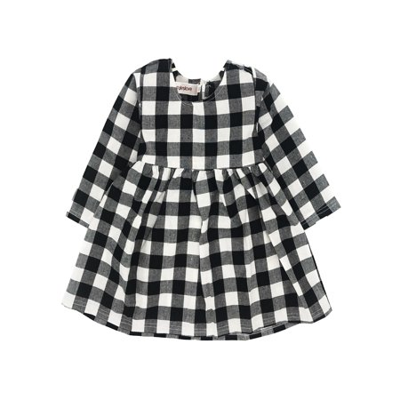 StylesILove Little Baby Girl Plaid Checked Long Sleeve Party Outfit Dress (90/18-24 - Girls Plaid Dress